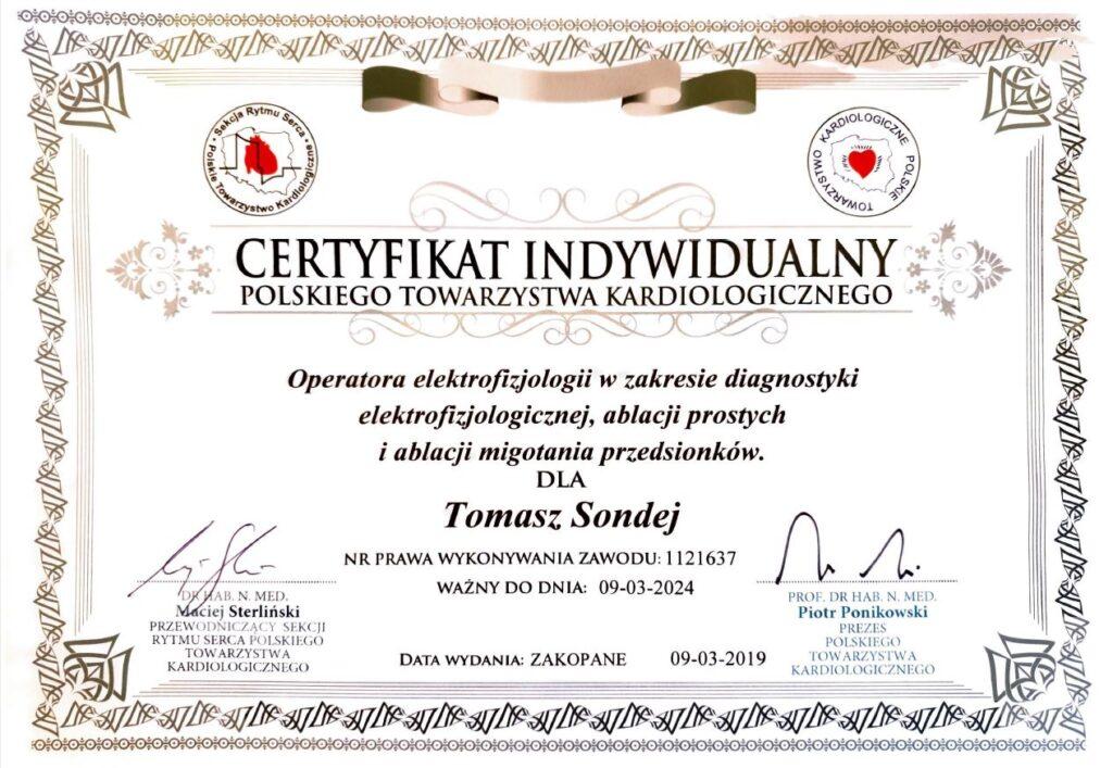 certyfikat indywidualny polskiego towarzystwa kardiologicznego dla Tomasza Sondej