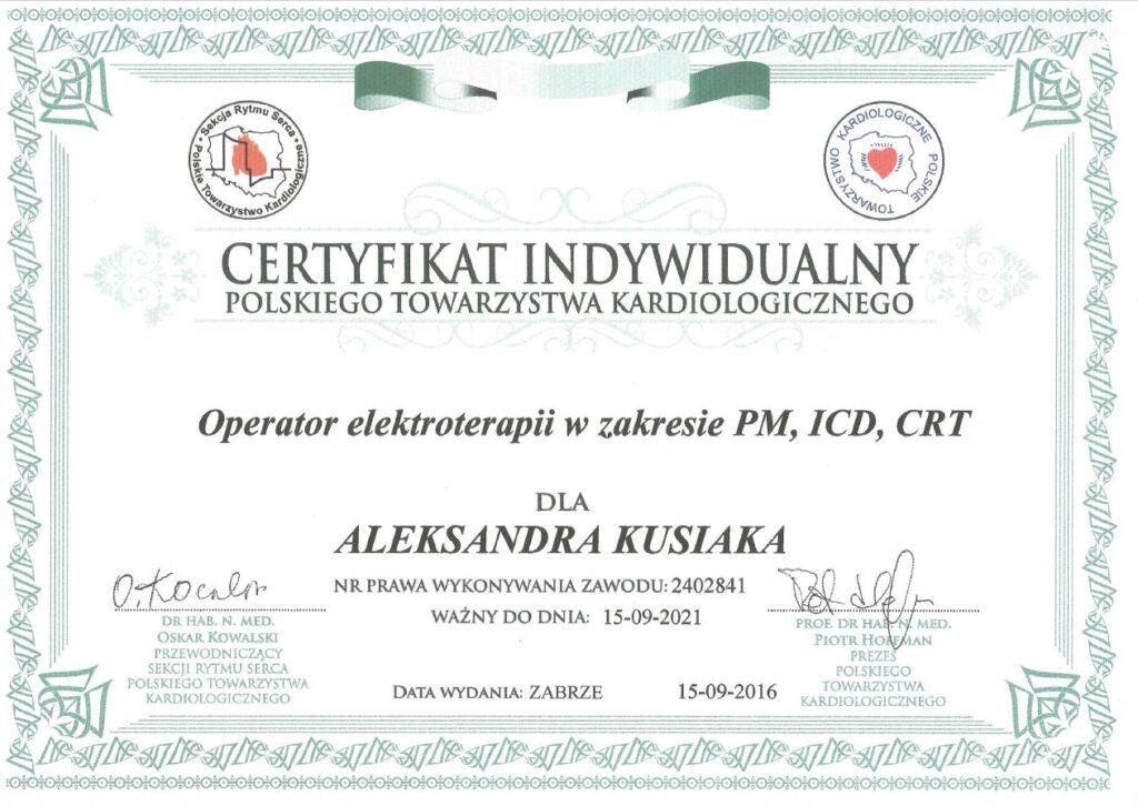 certyfikat indywidualny polskiego towarzystwa kardiologicznego dla Aleksandra Kusiaka