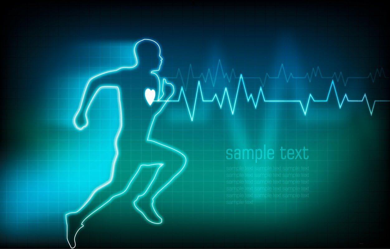 rysunek biegnącego mężczyzny z wyraźnie zaznaczonym sercem i wyrysowanym rytmem ekg