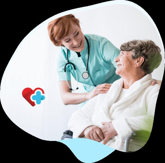 grafika z logo centrum medycznego myszków oraz zdjęcie lekarki opiekującej się starszą panią na wózku