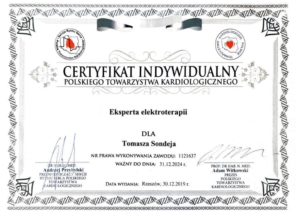 certyfikat indywidualny polskiego towarzystwa kardiologicznego dla Tomasza Sondeja
